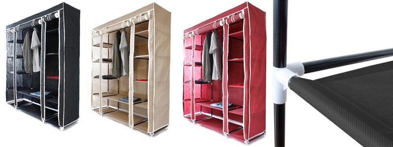armoire rangement penderie etagere vetements en tissu l xl. Black Bedroom Furniture Sets. Home Design Ideas